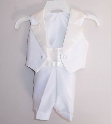 Toddler Boy's Tuxedo 2 Piece Suit White Size 3 Satin Lapel  NEW