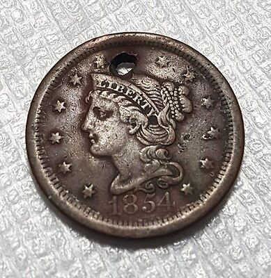 1854 large cent/penny. Braided hair.