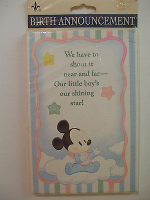 Vintage Baby Mickey Birth Announcement Cards/Envelopes Pack of 8 Little Boy NIP