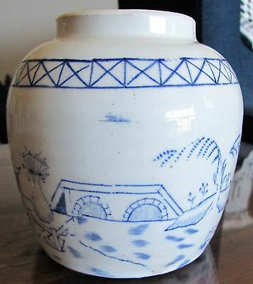 Hand Painted Chinese Blue and White Porcelain Jar Landscape scene Pottery Pot
