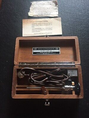 VINTAGE Broyles Nasopharyngoscope SET  IN WOOD  CASE 4 Piece Set 1953
