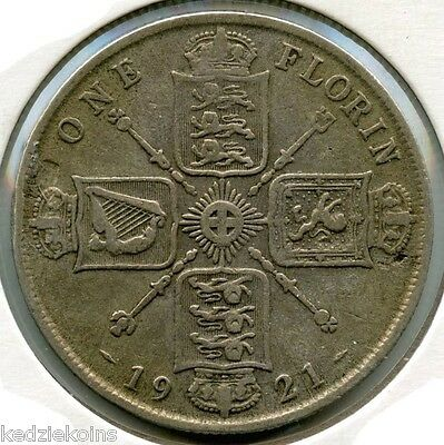 Great Britain 1921 Silver Coin - One Florin - King George V - KR602