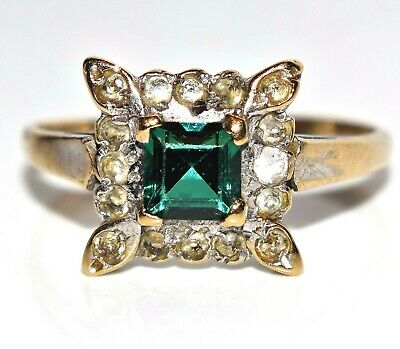 Retro Synthetic Emerald & Spinel 9ct Yellow gold ring size R ~ 8 3/4