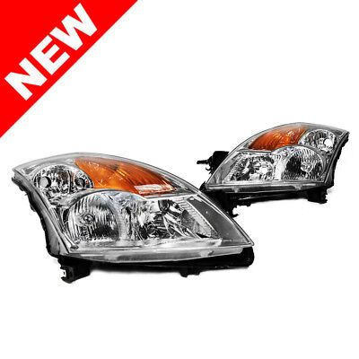 07-09 Nissan Altima Sedan OEM Factory Style Chrome Headlights w/ Amber Reflector