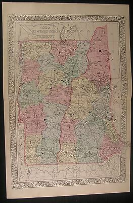 New Hampshire Vermont Lake Champlain Coos 1883 antique hand color lithograph map