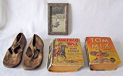 "Vintage collection of ""Johnny"", Photograph, Leather Shoes ,Little Books"