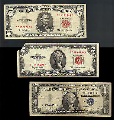 OLD MONEY $1 SILVER Blue Seal Certificate+ $2& $5 Dollar RED Seal US Notes Bills