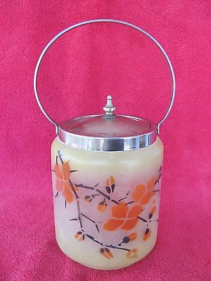 Old Vintage Glass Biscuit Barrel Jar Hand Painted & Signed PST Cookie Candy Dish