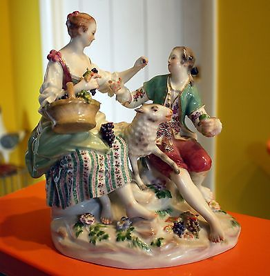 Meissen Figurine Man Woman and Sheep