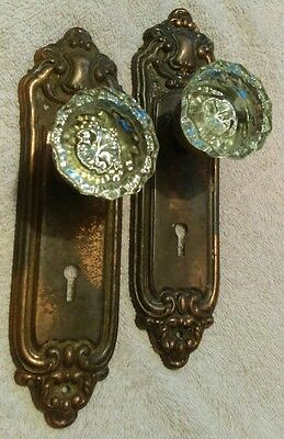 Pair of Glass Door Knob Coat Hooks, With ornate Back Plates