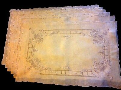 Six Exceptional Hand Embroidered Fine Linen Placemat Romantic Victorian Pattern