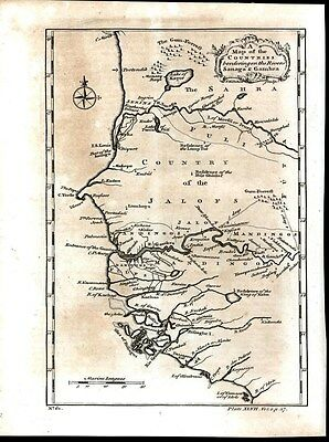 Western Africa Senegal Gambia Guinea Bissau 1745 antique engraved map