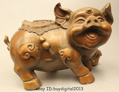 "8"" Lucky China Chinese Folk Fengshui Bronze Money Wealth Zodiac Year Pig Statue"