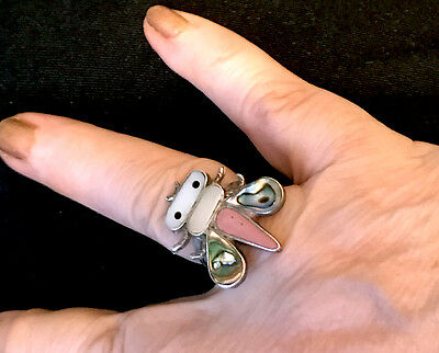 Zuni Sensa Eustace Bee Ring w Rare Stones Size c. 8.25 Pink Coral, Abalone, MOP