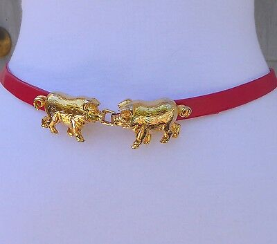 """Vtg. Dotty Smith Gold Tone Metal Double PIG Buckle w/ 1/2"""" faux. Leather Belt"""