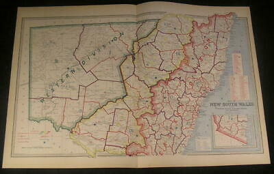 New South Wales Australia Territorial Division 1886 antique engraved color map
