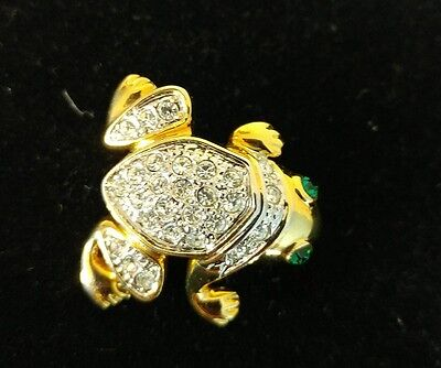 Pave Rhinestone Gold Tone Frog Pin Brooch with Green Rhinestone Eyes
