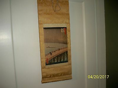 Japanese Scroll  Of People On A Bridge In A Storm.  Came With 1880's Photographs
