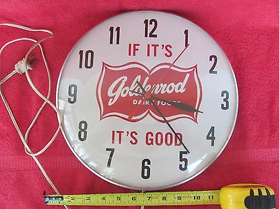 Vintage If It's Goldenrod Dairy Foods Good Advertising Clock Sign Bubble Glass