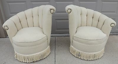 Pair Asymmetric *Art Deco* Style Channel Back Swivel Upolstered CHAIRS  Vintage