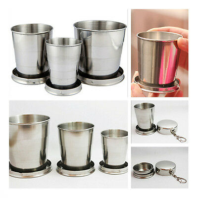 1*Stainless Steel Travel Telescopic Collapsible Shot Glass Emergency Pocket Cup