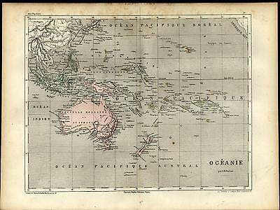 Australia Oceania Hawaii Polynesia Java c.1860 antique engraved hand color map