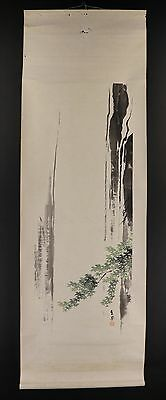 """JAPANESE HANGING SCROLL ART Painting """"Waterfall"""" Asian antique  #E4919"""