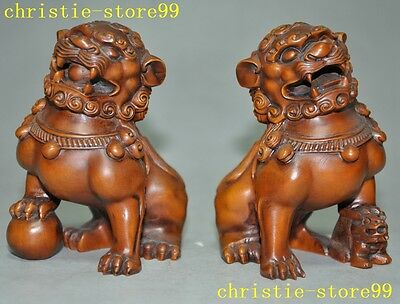 "4""Old Chinese boxwood wood Feng shui Hand-carved lion beast Foo dog Right statue"