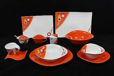 Dinner Set 6 Person 45 Piece Orange Circle Clearance Price Below Cost