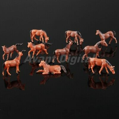 10pcs Pack Colored Painted Model Horse Farm Animals Scenery Kids Toy Scale 1:87