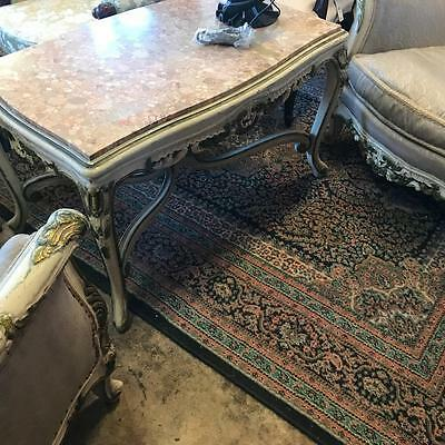Lovely French Marble Top Coffee Table On Painted Carved Base & Cabriole Legs