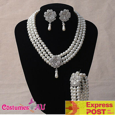 1920s 20s Necklace Bracelet Earings Set Gatsby Flapper Gangster Pearl