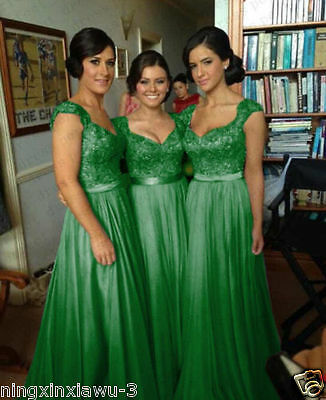 STOCK US Size 12 Green Chiffon Bridesmaid Dress Wedding Party Prom Evening Gown