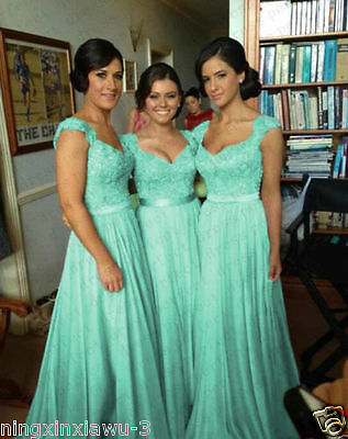 STOCK US Size 12 Blue Chiffon Bridesmaid Dress Wedding Party Prom Evening Gowns