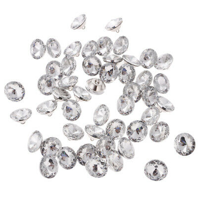 50pcs Crystal Flower Sewing Buttons for Sofa Headboard Upholstery Decor 25mm