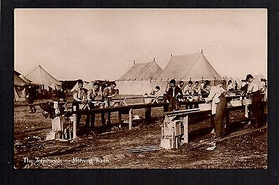 The Territorials - Morning Wash  -  real photographic postcard