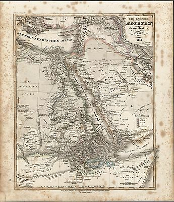 Mts. of Mooon Africa Arabia c.1850 Meyer scarce detailed antique map