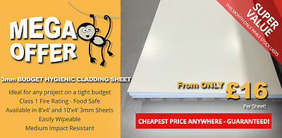 """Budget"" Hygienic Wall Cladding Sheet 3mm Thick WHITE 8x4 or 10x4 PVC Sheets"