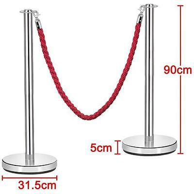 2Pcs Polished Stainless Steel Queue Rope Crowd Control with 1.5m Red Twisted Rop
