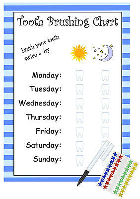 Teeth Brush Reward Chart - Children's Kids Tooth Cleaning Brush Chart Non Verbal