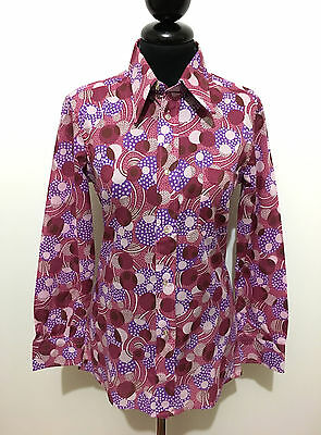 CULT VINTAGE '70 Camicia Donna Jersey Pois Optical Woman Shirt Sz.S - 40
