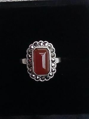 Vintage Sterling Silver Carnelian & Marcasite Stone Ring