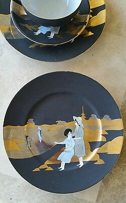 Japanese art deco ? cup saucer plate trio black gold beach scene signed