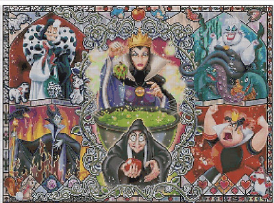 Counted Cross Stitch Pattern or kit, Disney Villains