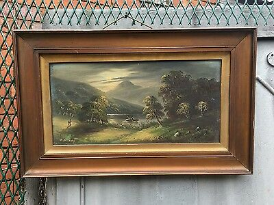 Antqiue oil on canvas in gold gilt frame, signed