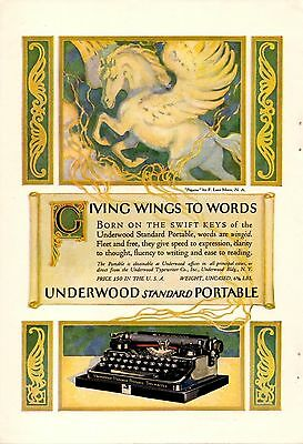1922 Color Underwood Typewriter Ad-Pegasus-Luis Mora Art