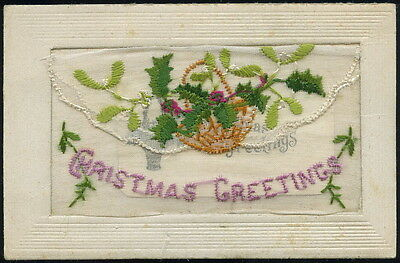 WW1 - silk embroidered postcard - 'CHRISTMAS GREETINGS' - with small card insert