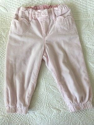 H&M 9-12 Month Fully Lined Warm Winter Trousers. Pale Pink Cord. Heart Pockets.