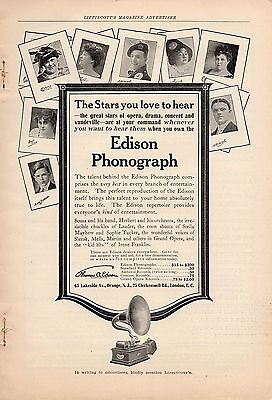 1912 Edison Phonograph Ad-The Stars You Love To Hear