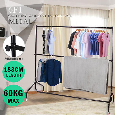 6FT Metal Clothes Rack Garment Portable Double Rail Rolling Heavy Duty Stand